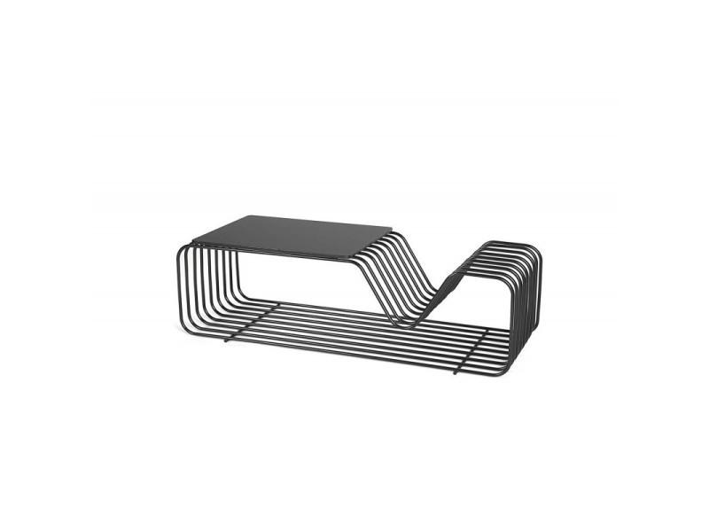Table basse industrielle en métal noir mat phenix