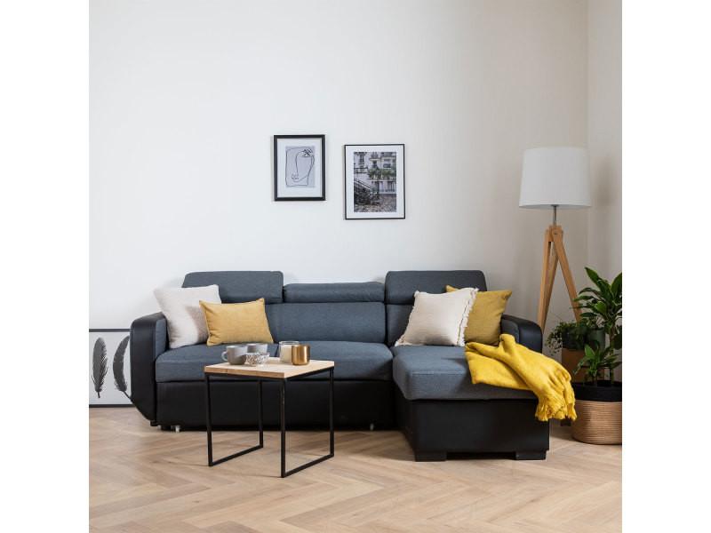 Canapé d'angle convertible warren 3 places gris chiné et noir