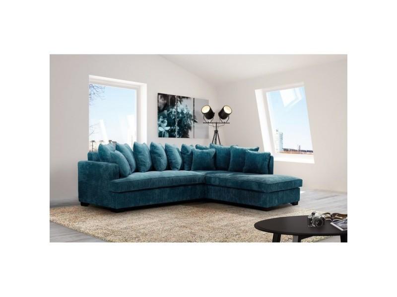 Canapé angle droit bleu samoa