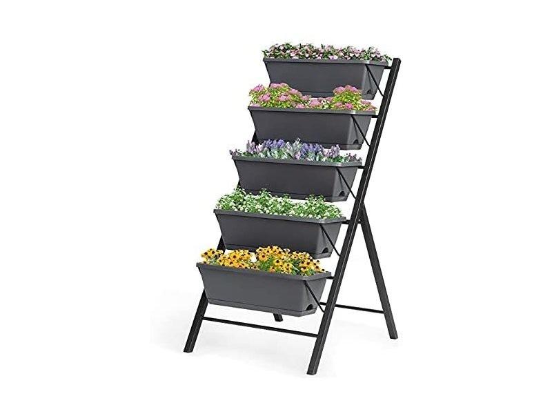Costway jardinière verticale avec 5 pots de fleurs en pp et fer, potager surélevé autoportante pour légumes et fleurs, lit de jardin surélevé pour terrasse, balcon,cour,57x68 x114cm