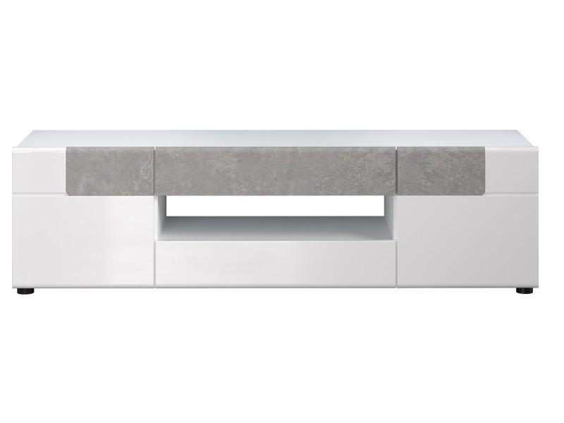 Tokyo - meuble salon/séjour - meuble tv en mélaminé blanc et bois foncé. L-h-p : 153 - 43 - 44 cm