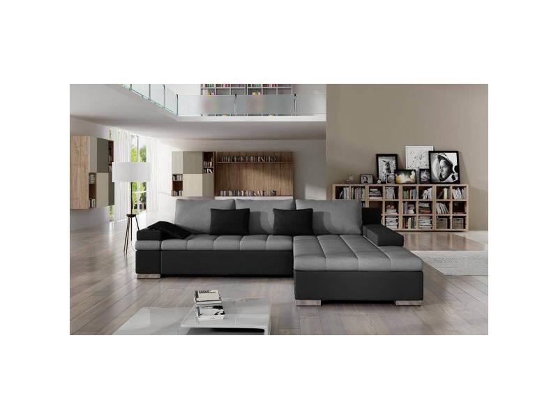 Rosy - canapé d'angle convertible gris et noir - angle droit
