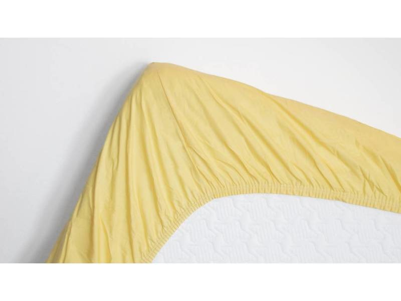 Snoozing - drap-housse en satin de coton - 140x220 cm - jaune SMUL102167312