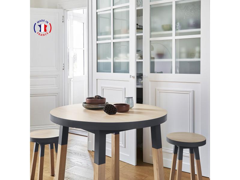 Table ronde 100% frêne massif 90x90 cm bleu sombre de rance - 100% fabrication française