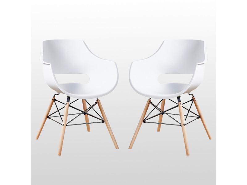 Lot de 2 chaises design olivia blanches - pieds eiffel en bois