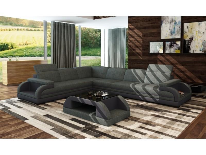Canapé d'angle en tissus gris chiné design bali (angle gauche)-