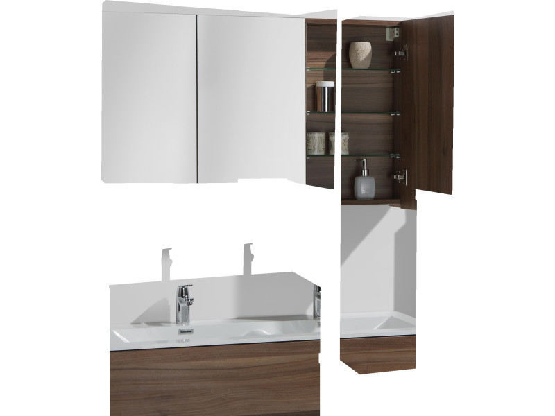 armoire de toilette bloc miroir siena largeur 120 cm noyer vente de salle de bain pr tes. Black Bedroom Furniture Sets. Home Design Ideas