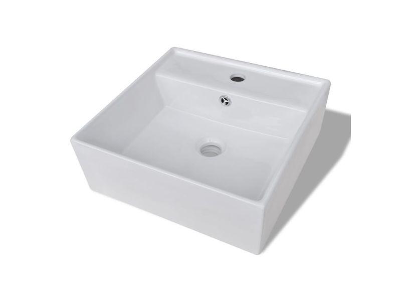 Icaverne - lavabos categorie luxueuse vasque céramique carrée avec trop plein 41 x 41 cm