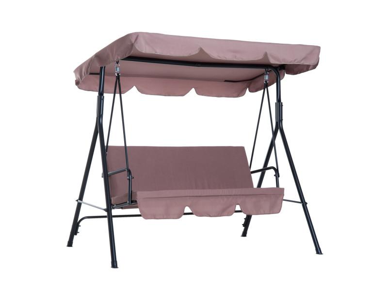Balancelle de jardin 3 places toit inclinaison réglable coussins assise et dossier 1,72l x 1,1l x 1,52h m acier noir polyester marron clair