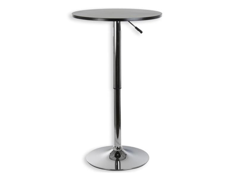 Table haute de bar vista mdf laqu noir mat vente de table conforama - Table haute noir laque ...