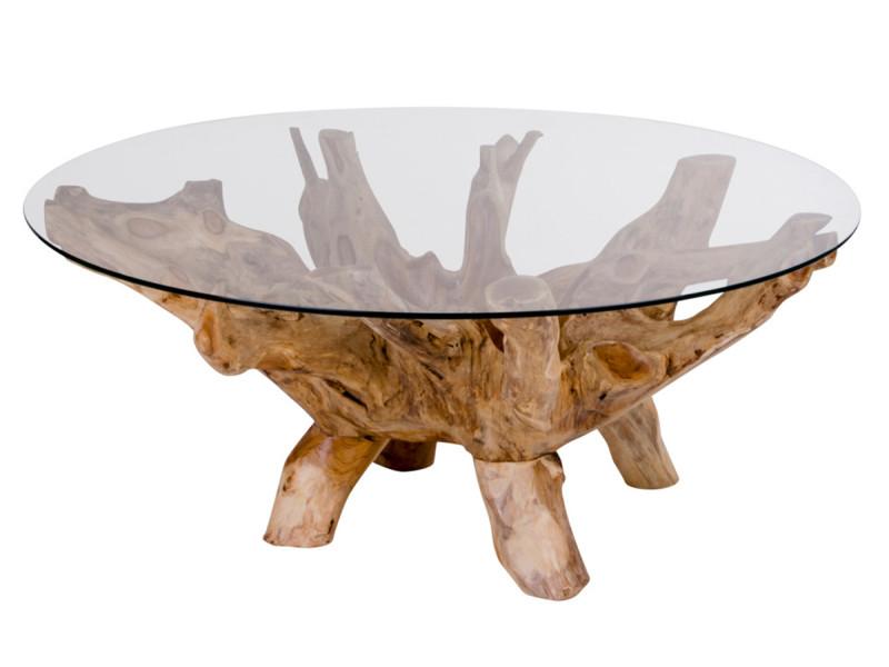 Table à café coloris naturel en teck - dim : 110 x 110 x 50 cm -pegane-
