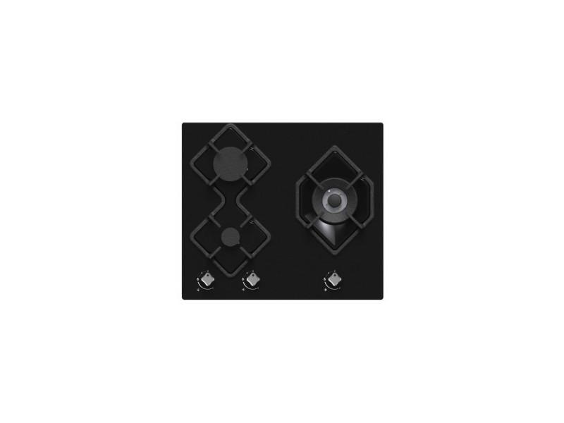 Table de cuisson gaz htg3bvn hudson - 3 foyers - verre noir HUDHTG3BVN