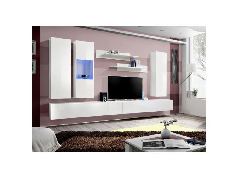 Ensemble meuble tv mural - fly iv- 320 cm x 190 cm x 40 cm - blanc