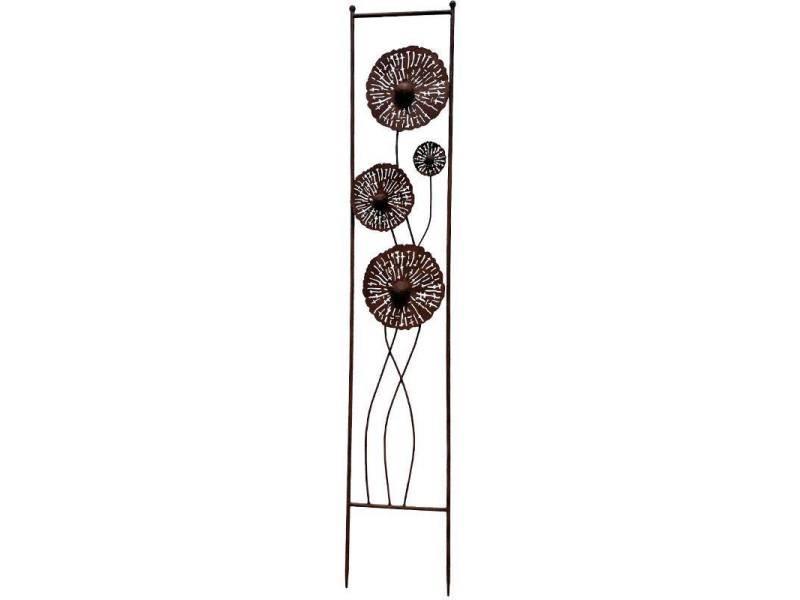Treillis pistillus grande grille décorative motifs floraux en métal marron 23x126cm