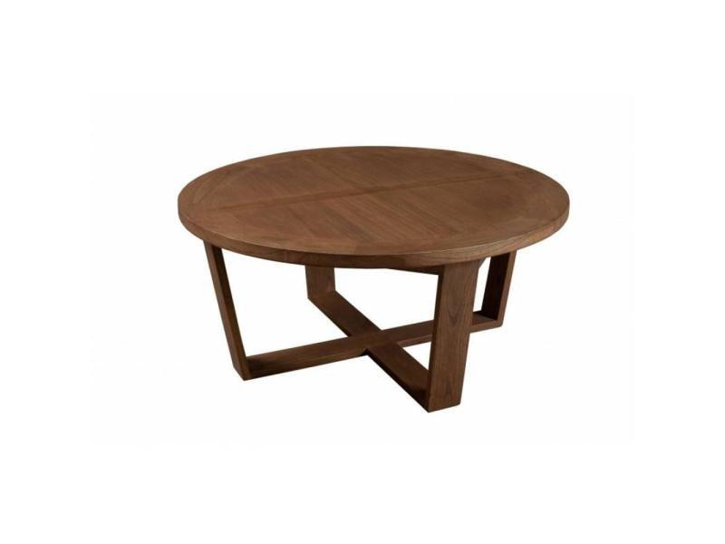 Table basse ronde 90 cm fancy en bois teinte naturelle style colonial 20100839695