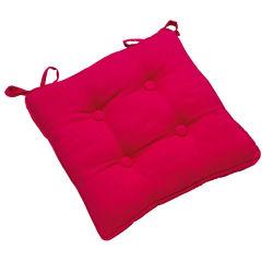 Galette de chaise à boutons 38x38 rose fuchsia