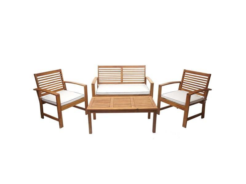 Garniture de jardin hwc-e99, ensemble canapé fauteuil, set de balcon, bois massif d'acacia, coussin crème