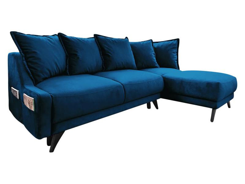 Canapé d'angle convertible coffre new england bleu marine angle droit