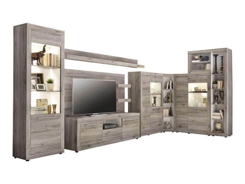 biblioth que d 39 angle 150 cm en panneaux de particules coloris ch ne sable san remo p 31270 co c. Black Bedroom Furniture Sets. Home Design Ideas