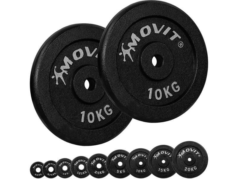 Movit® lot de 2 disques en fonte de 10 kg - 20 kg - noir