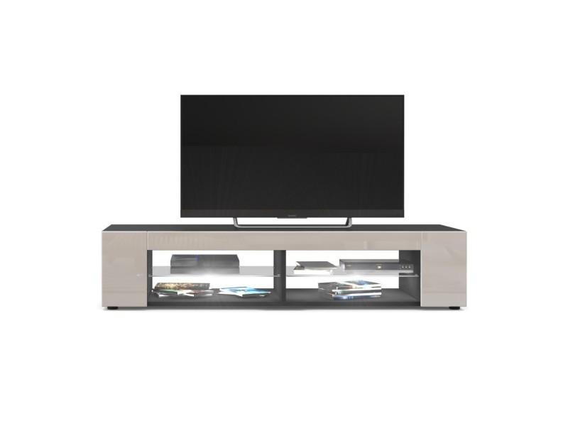Meuble tv noir mat façades en gris sable laquées led blanc MOVIE 8
