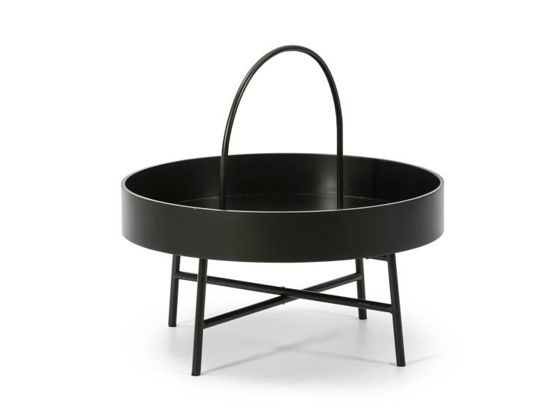 Table basse table auxilaire ronde manila avec plateau en mdf noir et structure métallique en couleur noir mat/diamètre: 60 cm