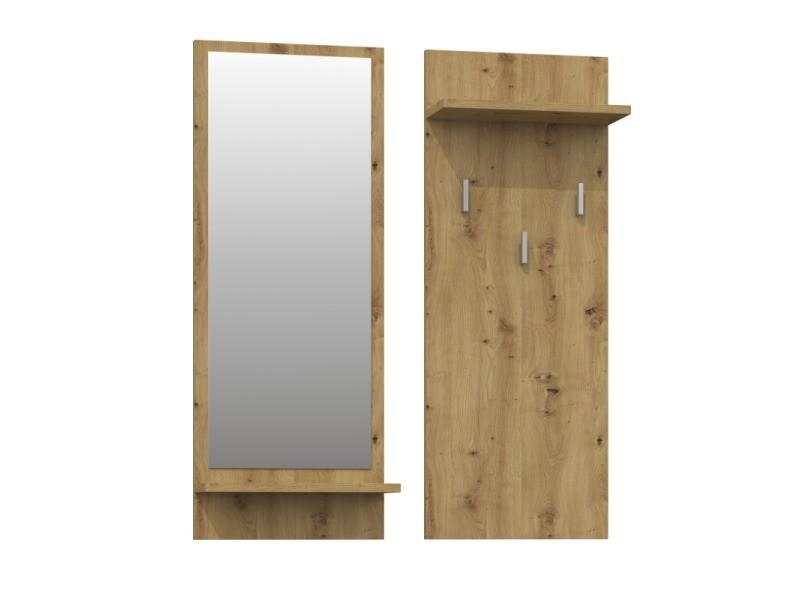Kameron - porte-manteau d'entrée hall - 3 grands crochets à vêtements - dimensions : 90x35x16 - étagères pratiques - miroir - chêne