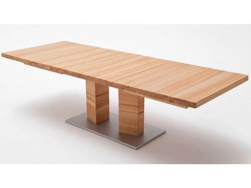 Table à manger extensible rectangulaire en bois de cœur de hêtre massif huilé et ciré - l.180-270 x h.77 x p.100 cm -pegane- PEGANE