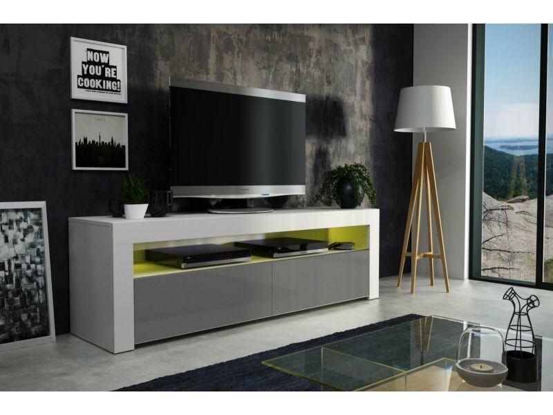 Meuble tv 157 cm blanc mat gris laqué + led rgb