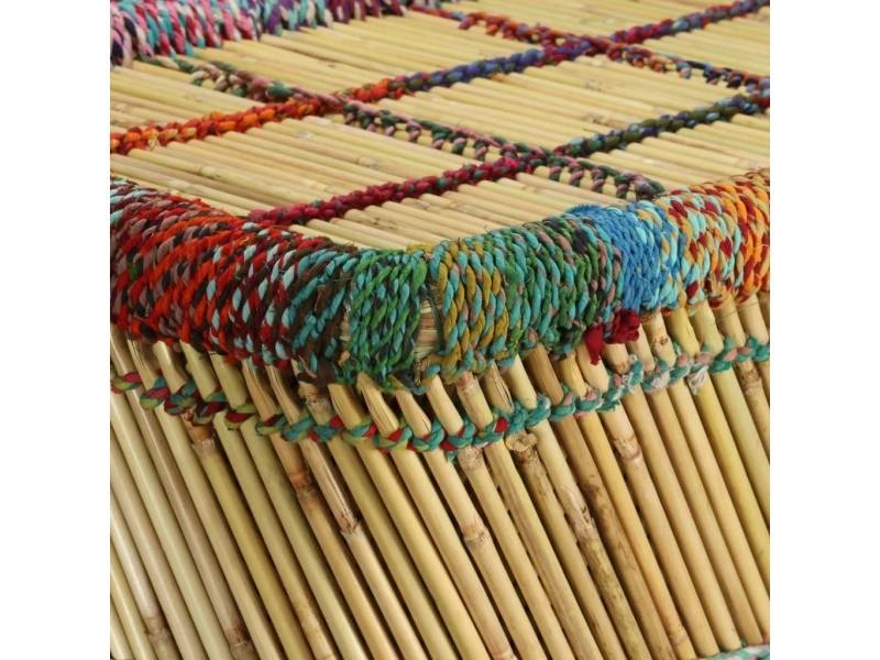 Icaverne - tables basses ligne table basse bambou avec détails chindi multicolore