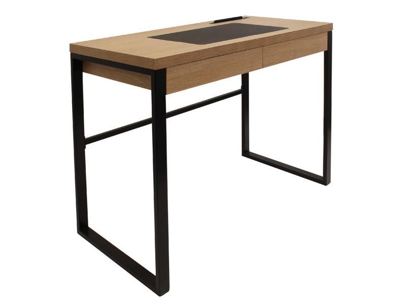 bureau en bois et m tal coloris marron 100 x 74 x 50 cm pegane vente de bureau conforama On bureau 50 cm