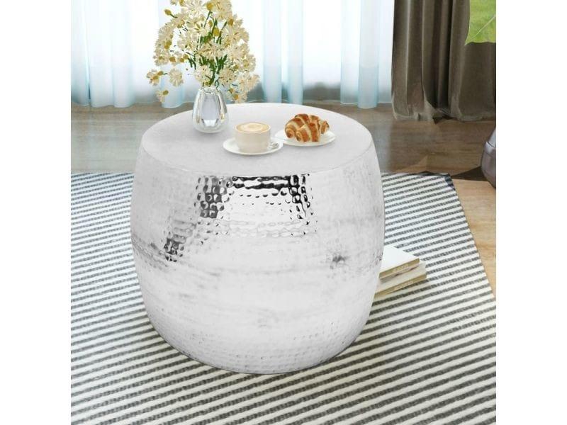 Vidaxl table basse ronde aluminium argent 243509