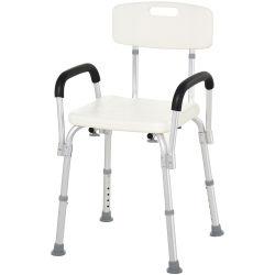 Chaise de douche siège de douche ergonomique hauteur réglable pieds antidérapants dossier accoudoirs amovibles charge max. 136 kg alu hdpe blanc neuf 07