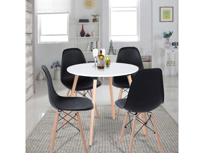 Ensemble table à manger ronde et lot de 4 chaises scandinave blanche noir bois