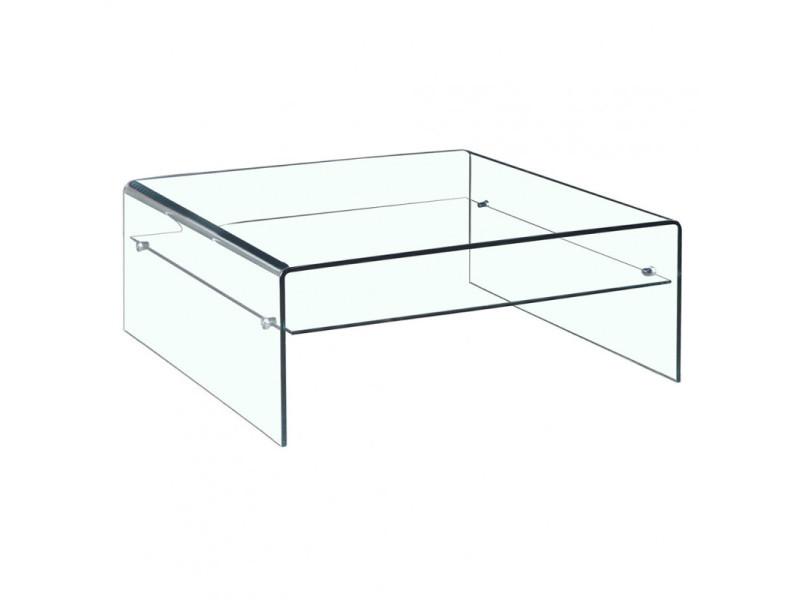 Table basse verre trempé design carré avec étagère vitrée - ice