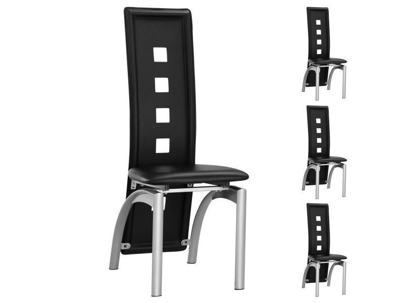 Lot de 4 chaises de salle manger monica dossier design - Conforama chaises salle a manger ...