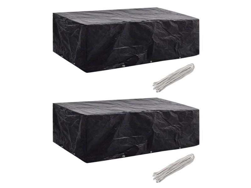 Joli accessoires pour meubles d'extérieur ligne alger housses de salon de jardin 2 pcs rotin 10 œillets 300x140 cm