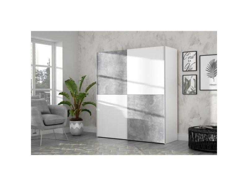 Armoire de chambre ulos armoire 2 portes coulissantes - décor béton gris clair et blanc - l 170.3 cm