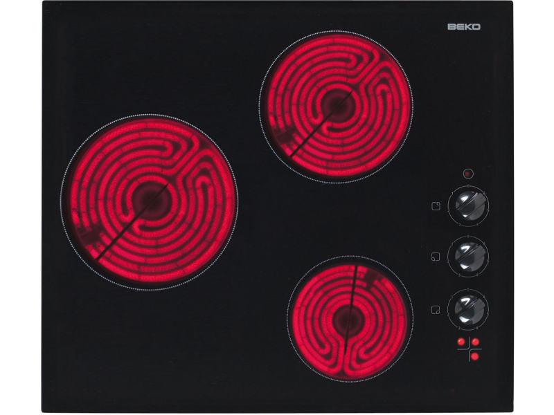 Table de cuisson vitrocéramique 3 feux 5000w noir - hic63100 hic63100