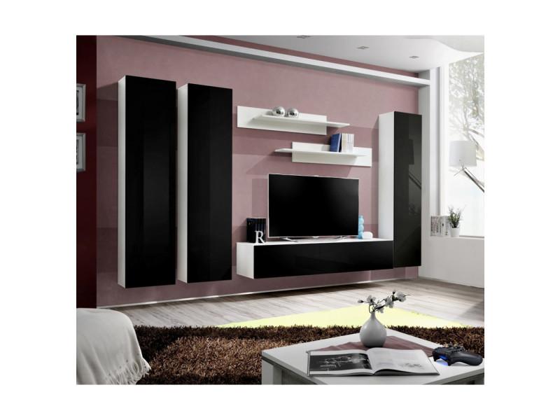 Ensemble meuble tv mural - fly i - 310 cm x 190 cm x 40 cm - blanc