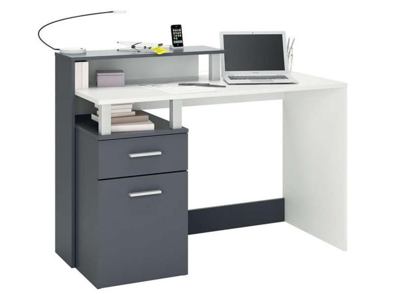 Bureau informatique tiroir porte et étagère en blanc gris