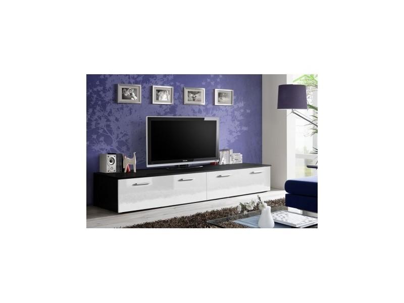 Grand meuble tv duo 200x35x45 cm - corps noir mat/ front blanc de haute brillance 23 ZW DU