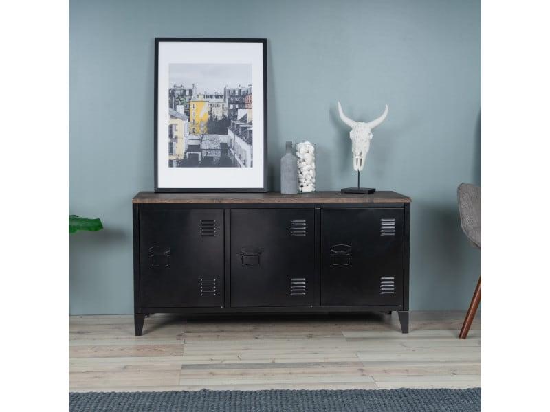 Meuble tv industriel bois et métal 3 portes noir
