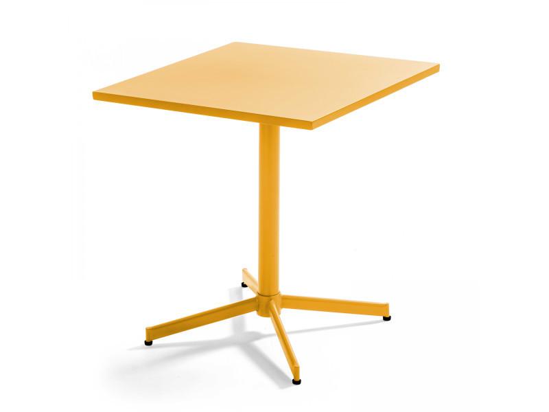 Table de jardin plateau carré rabattable en métal palavas 4 places acier jaune