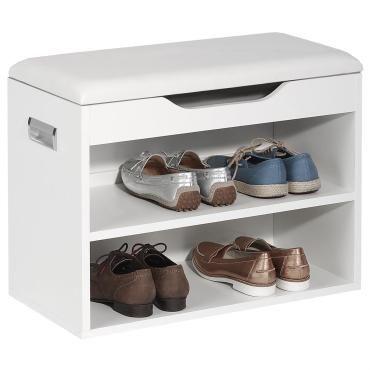 meuble chaussures zapato banc avec assise et 2 tag res rangement pour 6 paires m lamin blanc. Black Bedroom Furniture Sets. Home Design Ideas