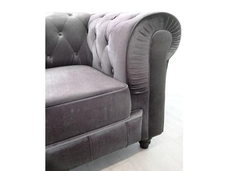 canap 3 places chesterfield velours argent vente de menzzo conforama. Black Bedroom Furniture Sets. Home Design Ideas