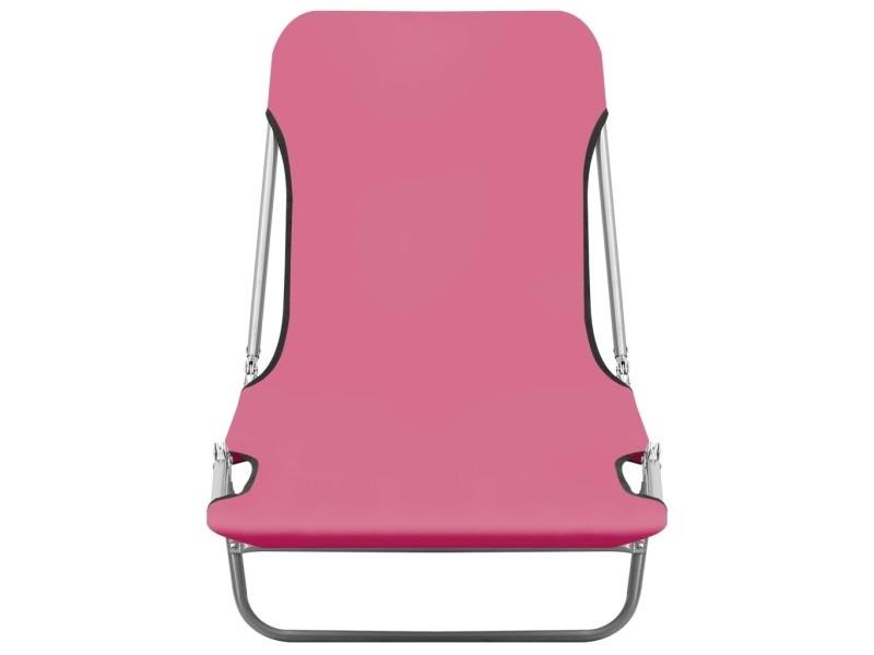 Vidaxl chaises longues pliables 2 pcs acier et tissu rose 310345