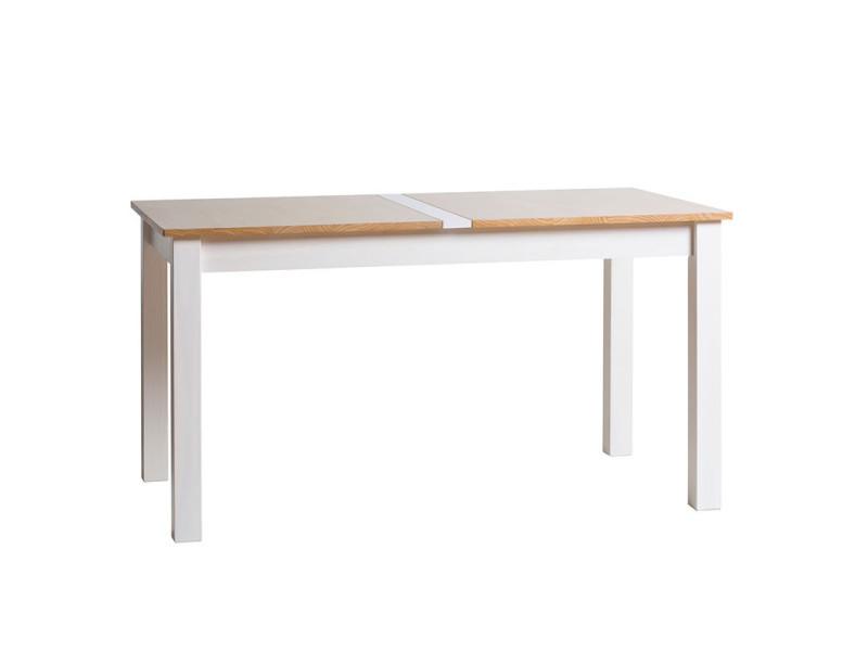 Table de repas blanc et bois - emie n°1 - l 150 x l 85 x h 75 - neuf