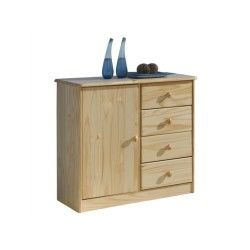 Buffet bahut commode apothicaire pin massif vernis naturel