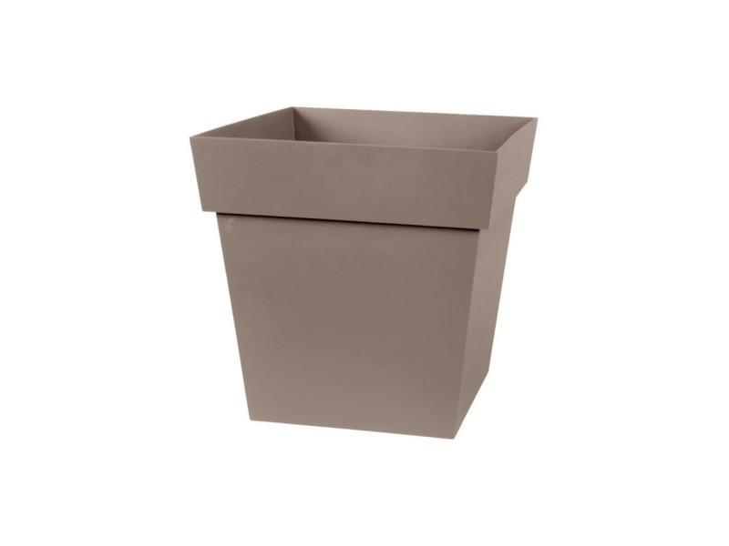 Eda pot carré toscane 32 cm - contenance 22 l - taupe